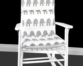 Elephants Rocking Chair Cushion, Nursery Room Rocking Chair Pads