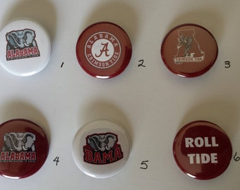 Alabama Crimson Tide Pin Back Buttons 1.25""