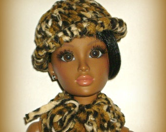 """Hand Knit Hat and Scarf Set for 20"""" Vintage Lorifina Doll, Knitted in Cozy Animal Print Fleece, Cheetah Print Fun by traveller240"""