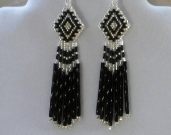 Native American Style Beaded Classic Earrings in Black and Silver Southwestern, Boho, Fringe, Gypsy, Brick Stitch, Peyote Ready to Ship