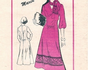 Boho Uncut Vintage 1970s Prominent Designer A801 Marek Seam Interest V Neck A Line Dress and Scarf Sewing Pattern B34