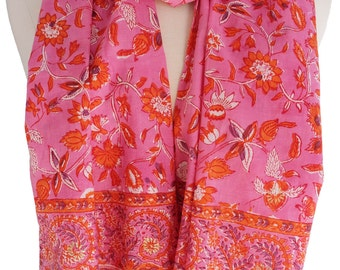 "Hand Block Printed Scarf - Chinese vine pink  - 15.5"" x 70"" - 100% cotton"