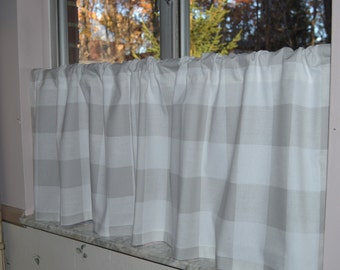 Cafe Curtain . Buffalo Plaid Premier Prints French Gray .  Large Check Tiers .  Handmade by Pretty Little Valances