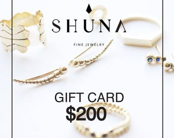 Gift Certificate - Last Moment Shopping - Gifts under 200 USD - Holiday Unique Gift - Perfect Gift For Her - Jewelry Gift - By SHUNA Jewelry