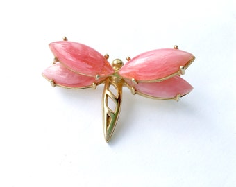 Vintage Pink Winged Insect Brooch Figural Bug Scatter Pin Figural Fun Fashion Jewelry
