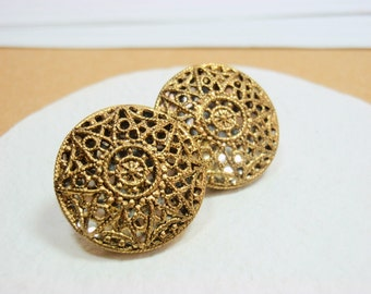 Twinkle Buttons, 17mm, Vintage Mirror Back Pierced Cut Away Metal Buttons Gold Tone