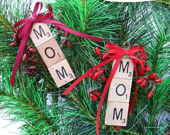 MOM Christmas Ornament - Scrabble Ornament - Your Choice: Red or Burgundy - Stocking Stuffer, Package Tie-On, Gift for Mom