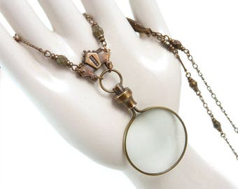 magnifying glass necklace steampunk monocle glass lens necklace large magnifier antique style