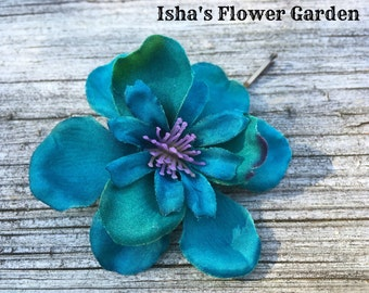 Teal, Turquoise and Purple, green Delphinium hair flower clip, teal bobby pin, teal barrette