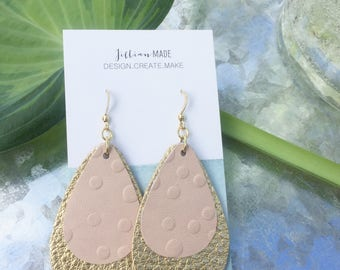 Light pink and gold earrings
