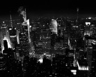 Black and White New York City Photography NYC Skyline Night City Lights NYC Art New York Photo Print Modern Wall Art Urban Monochrome Decor