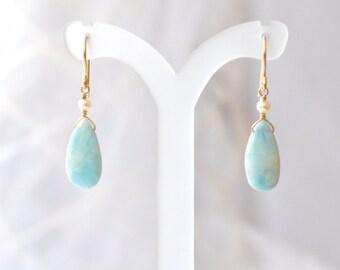 Larimar Earrings, Freshwater pearl earrings, Teal Blue stone Earrings,  Larimar Gold earrings, Gift For Her,