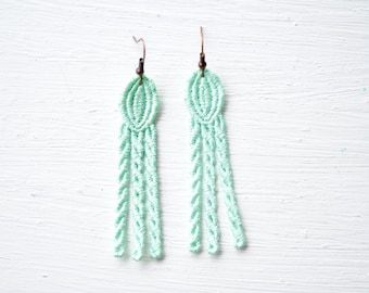 Lace Earrings in Mint Green