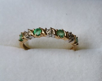 emerald and diamond 10k yellow and white gold ring