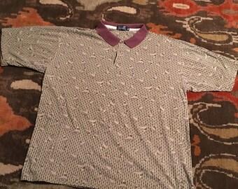 Vintage Ducks Unlimited Men's XL Allover Print Short Sleeve Polo Shirt
