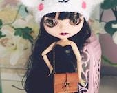 Blythe Bear hat. Blythe clothes. Ear hat for newborn prop. ooak Blythe accessories. Blythe doll hat. polar bear neo blythe