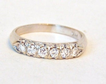 Diamond Wedding Anniversary Band Ring in 14K White Gold, .50 Carats VS Diamonds, Vintage