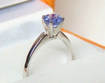 Canadian Made Tanzanite Solitaire Ring, 10K, White Gold, Engagement, Vintage, Appraisal Included