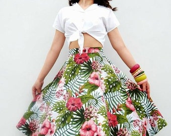 Exotic Hibiscus 50s style circle skirt , Vintage 50s inspired custom made exotic print skirt