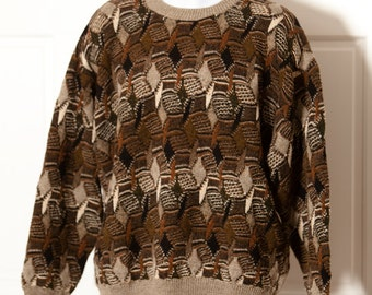 Awesome 80s 90s Vintage Textured Men's Sweater - Protege Collection - XL