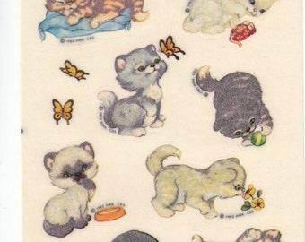ON SALE Rare Vintage Hallmark Fuzzy Kitten Sticker Sheet - 80's Retro Cat Kitty Feline Butterfly Snail Mouse Yarn Flocked Scrapbook