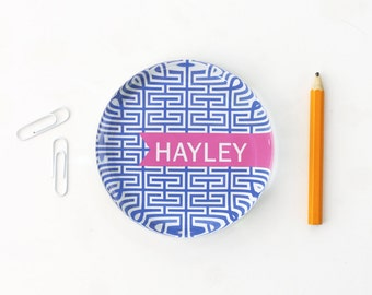 Personalized Glass Paperweight Girls Office Supplies Custom Paper Weight Desk Accessories Greek Key Pattern Teacher Gifts Graduation Gifts