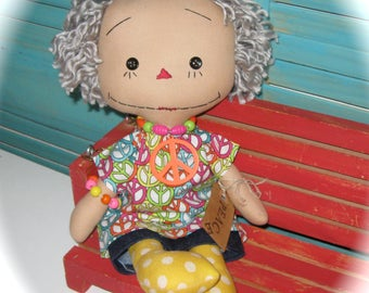 Raggedy Doll-Grey Hair Hippie-Retro-Nannie-Grandmother-Doll OOAK-Mother's Day Gift