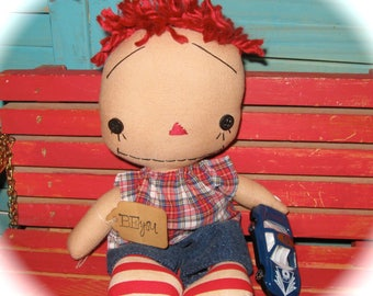 "RED Hair 10"" Boy Rag Doll With Blue CAR Primitive Raggedy Doll Handmade Boy OOAK*"