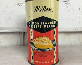 Antique tin McNess Lemon Flavored Dessert Mix Tin