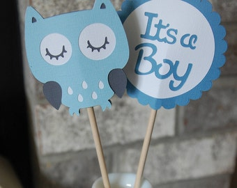 Owl Centerpieces, Baby Shower Centerpieces, It's a Boy, Hoot, Owl Shower, Owl Baby Shower Centerpieces, Pastel Blue, Blue, Dark Grey