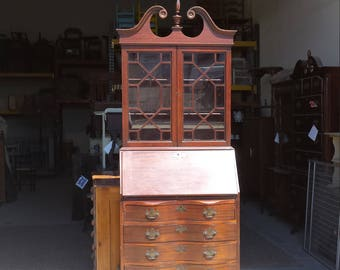 Vintage Secretary, China Cabinet, Storage, PICK UP ONLY, painting inc ...
