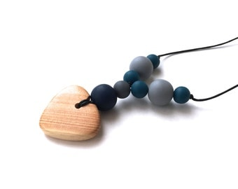 Teething Necklace - Aphrodite Nursing Necklace - Breastfeeding Necklace - Juniper Heart - Navy Blue, Grey, Teal - Winter Fashion