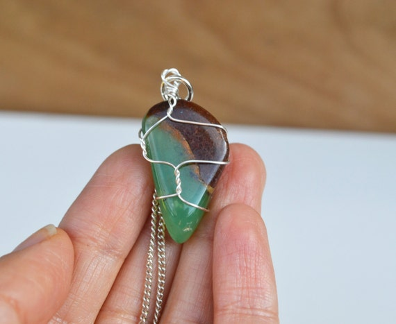Chrysoprase Necklace, Wire Wrapped Chrysoprase, Tumbled Chrysoprase Necklace, Gemstone Necklaces, Spring Jewelry, Chrysoprase Stone