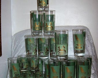 Vintage Clear Green & Gold Egyptian Nefertiti Pharoah Gods Tea, Water and Juice Tumblers Glasses 23 Mid Century Pieces for 99 USD