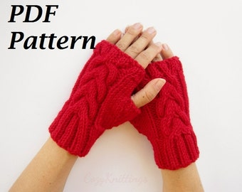 knitting pattern PDF pattern arm warmers wrist warmers gloves mittens PDF simple cable basic pattern