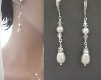 Long pearl earrings - Brides earrings - Swarovski crystals and pearls,Sterling silver ear wires,Bridal earrings,Pearl earrings, Gift, ANNIE