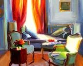 Original painting of ORANJE GORDYNE, French interior, orange and brown, beautiful sitting room