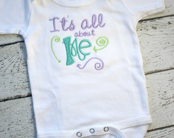 Girls Take Home Outfit, All About Me, Newborn Girls clothes, Baby Girl Coming Home Outfit, Embroidered Girls Baby Shower Gift  Ready To Ship