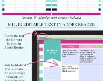 2018 Planner Printable, Printable Hourly Planner, Weekly Agenda Printable, Day Planner 2018, A4 Planner, Letter Size Planner,Digital Planner