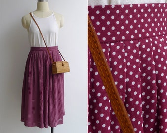 10-25% OFF Code In Shop - Vintage 80's Maroon Red & White Polka Dot Pleated Skirt XXS or XS