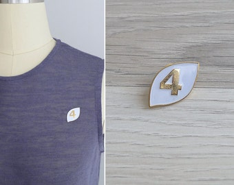 15% SALE (Code In Shop) - Vintage 80's 'Lucky Number 4' White & Gold Enamel Pin