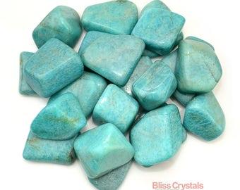 1 XL Teal AMAZONITE Tumbled Stone Green Healing Crystal and Stone Communication Calming #AZ22