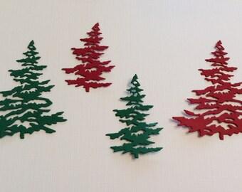 "4 Christmas Trees, 2 Red, 2 Green, 3"" Big Ones, 2"" Little  Ones, Sizzix, Handmade, Cards, Scrapbooking, Cardstock, Die Cuts"