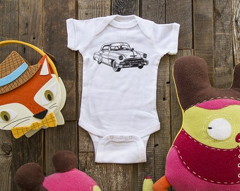 Old Classic Car des 21 One-Piece Shirt  - graphic printed on Infant Baby One-Piece, Infant Tee, Toddler T-Shirts - Many sizes