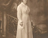"Vintage Photo ""Nursing School Graduate"" Nurses Uniform Cap Diploma Stately Young Woman Found Vernacular Photo"