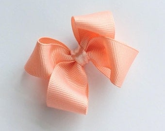 2.5 inch peach hair bow--petite little bow--perfect for babies toddlers shower or birthday gift ideas