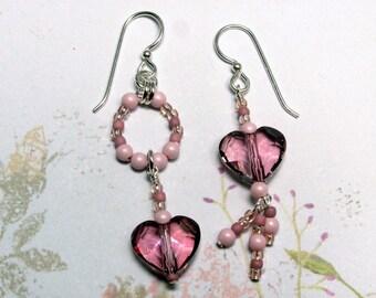 Antique Pink Heart Earrings, Rose Pearl Earrings, Swarovski Earrings, Valentine Earrings, Heart Earrings, Valentine Jewelry, Heart Jewelry