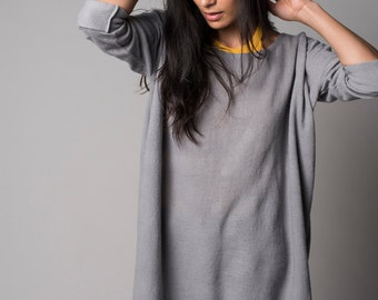 Grey merino wool sweater oversized, Plus size neutral top, Eco fashion by Texturable