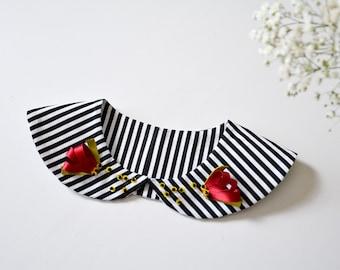 Peter pan collar, Detachable collar, Collar necklace, Striped collar, Removable collar, Cotton collar, Womens collar, Fashion collar