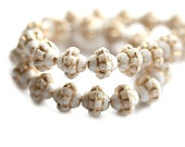 6mm Fancy Bicones, White with golden wash Czech glass pressed beads - 30Pc - 1278